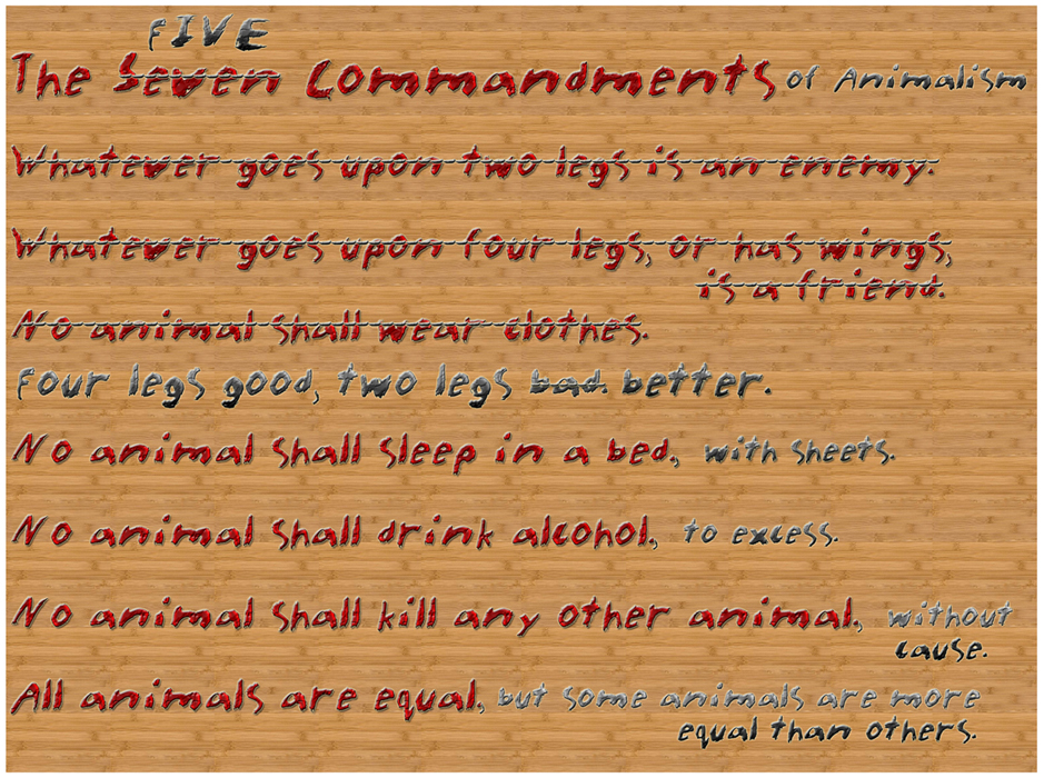 the seven commandments in animal farm essay The seven commandments 1 whatever goes upon two legs is an enemy 2 whatever goes upon four legs, or has wings, is a friend 3 no animal shall wear clothes.